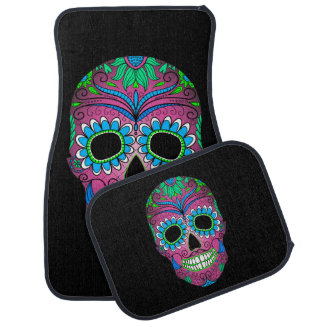 Colorful Day of the Dead Grunge Sugar Skull Car Floor Mat