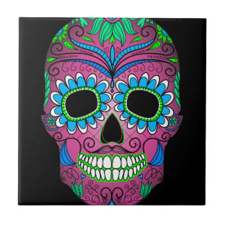 Colorful Day of the Dead Grunge Sugar Skull Ceramic Tile
