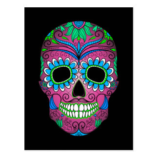 Colorful Day of the Dead Grunge Sugar Skull Postcard