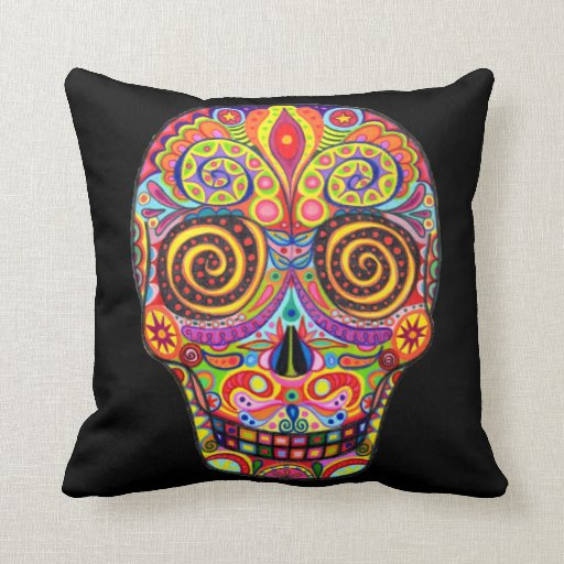 Colorful Day Of The Dead Skull Pillow Zazzle