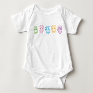Colorful Day of the Dead Skulls Baby Bodysuit
