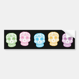 Colorful Day of the Dead Skulls Bumper Stickers