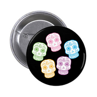 Colorful Day of the Dead Skulls Buttons