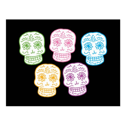 Colorful Day of the Dead Skulls Postcard