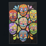 """Colorful Day of the Dead Sugar Skull Kitchen Towel<br><div class=""""desc"""">This Day of the Dead Sugar Skulls Kitchen Towel features a colorful psychedelic calavera sugar skull celebrating Mexico&#39;s Day of the Dead,  or Dia de los Muertos. The funky design for this Sugar Skull Day of the Dead Kitchen Towel is based on the artwork of Thaneeya McArdle.</div>"""