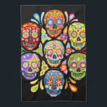 "Colorful Day of the Dead Sugar Skull Kitchen Towel<br><div class=""desc"">This Day of the Dead Sugar Skulls Kitchen Towel features a colorful psychedelic calavera sugar skull celebrating Mexico&#39;s Day of the Dead,  or Dia de los Muertos. The funky design for this Sugar Skull Day of the Dead Kitchen Towel is based on the artwork of Thaneeya McArdle.</div>"