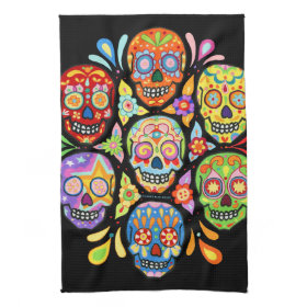 Colorful Day of the Dead Sugar Skull Kitchen Towel