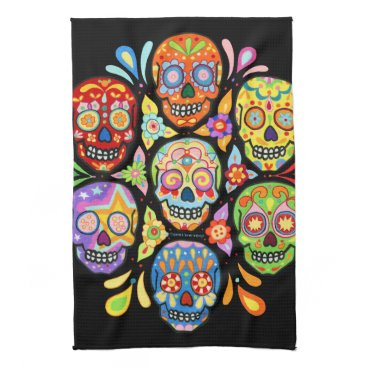 thaneeyamcardle Colorful Day of the Dead Sugar Skull Kitchen Towel