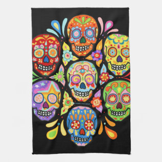 Colorful Day Of The Dead Sugar Skull Kitchen Towel at Zazzle