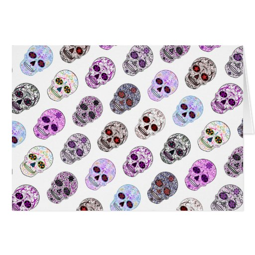 Colorful Day of the Dead Sugar Skull Pattern Greeting Cards