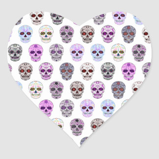 Colorful Day of the Dead Sugar Skull Pattern Heart Sticker