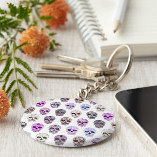Colorful Day of the Dead Sugar Skull Pattern Keychain