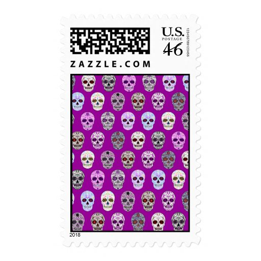 Colorful Day of the Dead Sugar Skull Pattern Postage Stamps