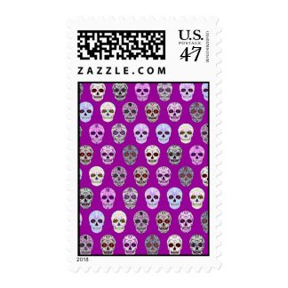 Colorful Day of the Dead Sugar Skull Pattern Postage Stamp