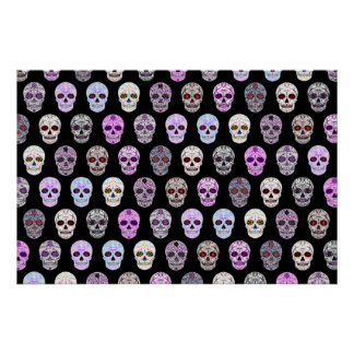 Colorful Day of the Dead Sugar Skull Pattern Poster