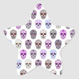 Colorful Day of the Dead Sugar Skull Pattern Star Sticker