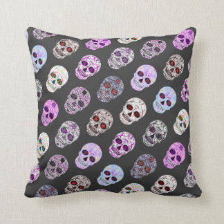 Colorful Day of the Dead Sugar Skull Pattern Throw Pillow