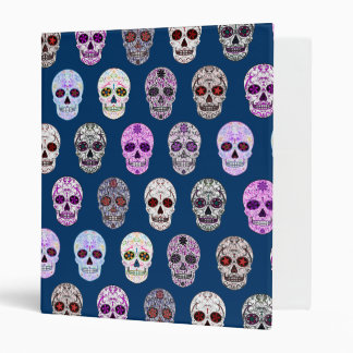 Colorful Day of the Dead Sugar Skull Pattern Vinyl Binders