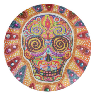 Colorful Day of the Dead Sugar Skull Plate