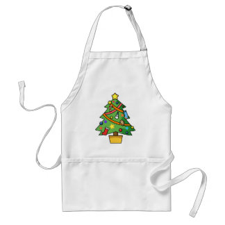 Colorful Decorated Christmas Tree Adult Apron