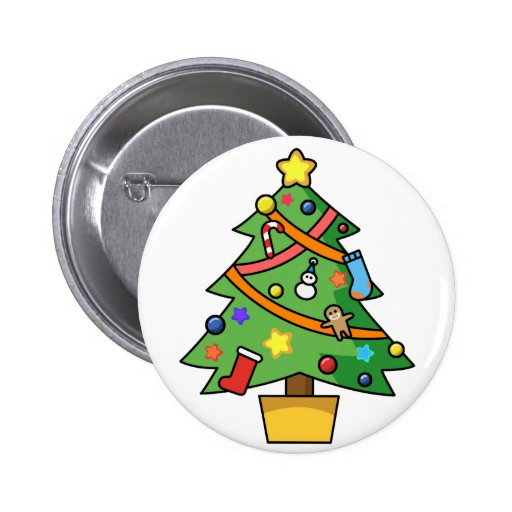 Colorful Decorated Christmas Tree Button