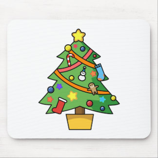 Colorful Decorated Christmas Tree Mouse Pad