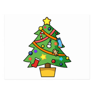 Colorful Decorated Christmas Tree Postcard