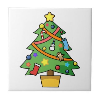 Colorful Decorated Christmas Tree Tiles