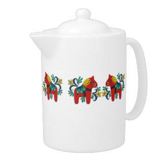 Colorful Decorative Swedish Dala Horses Teapot
