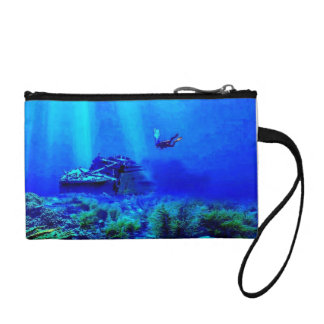 Colorful Deep Seas Blues Key Coin Clutch
