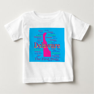 Colorful Delaware State Pride Map Silhouette Baby T-Shirt