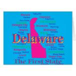Colorful Delaware State Pride Map Silhouette Card