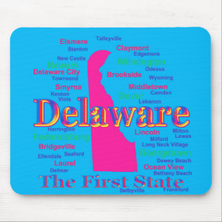 Colorful Delaware State Pride Map Silhouette Mouse Pad