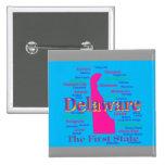 Colorful Delaware State Pride Map Silhouette Pin