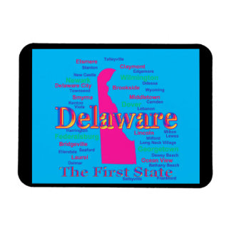 Colorful Delaware State Pride Map Silhouette Vinyl Magnets