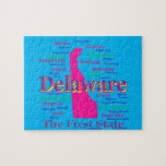 Colorful Delaware State Pride Map Silhouette Jigsaw Puzzles