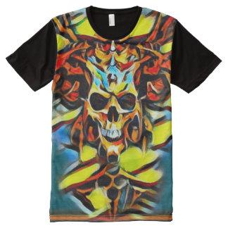 Colorful Demon Skull Acrylic Paint All-Over-Print Shirt