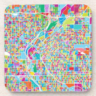 Colorful Denver Map Beverage Coaster