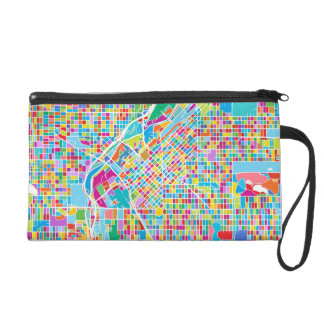 Colorful Denver Map Wristlet Purse