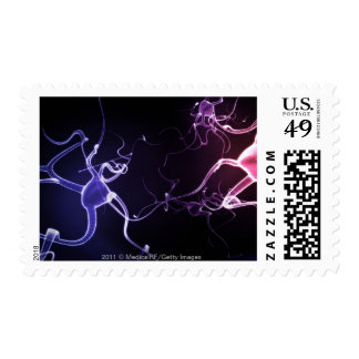Colorful depiction of neurons postage stamp