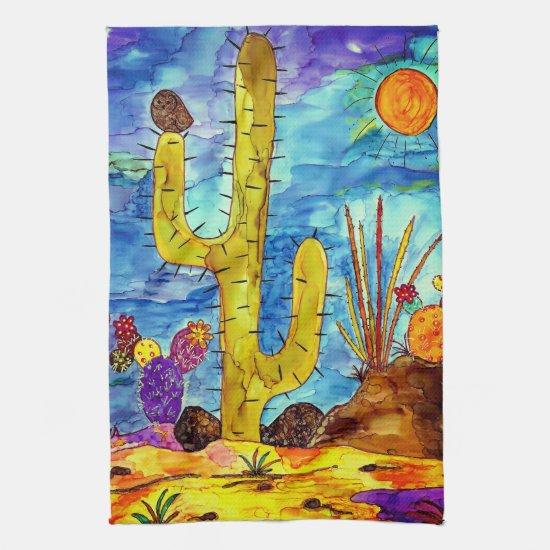 Colorful Desert Cactus Kitchen Towel