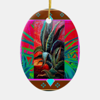 COLORFUL DESERT SUNRISE AGAVE CACTUS CERAMIC ORNAMENT