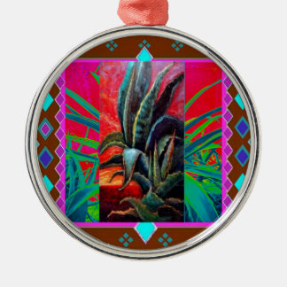 COLORFUL DESERT SUNRISE AGAVE CACTUS METAL ORNAMENT