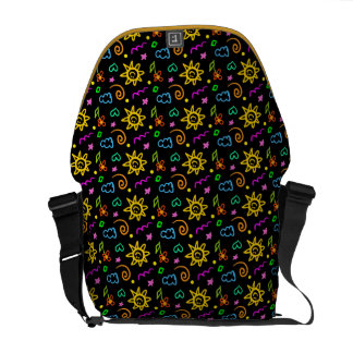 Colorful design of background for kids courier bag