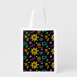 Colorful design of background for kids grocery bag