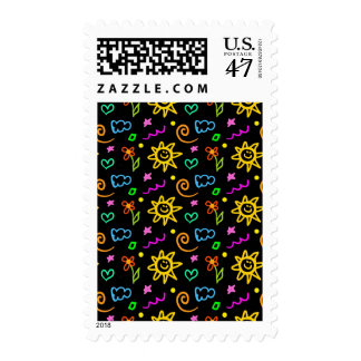 Colorful design of background for kids postage