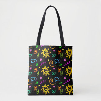 Colorful design of background for kids tote bag