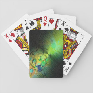 Colorful Design On Black Sparkly Background Playing Cards