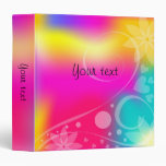 Colorful design with flowers, hearts, and curls 3 ring binder