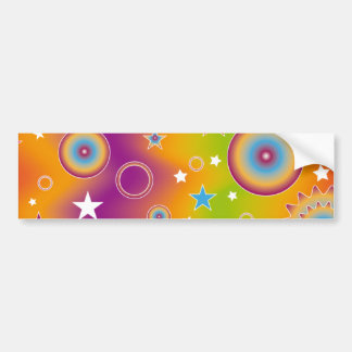 Colorful design with stars and circles car bumper sticker